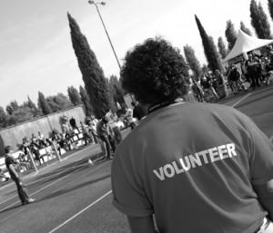 A volunteer on the job